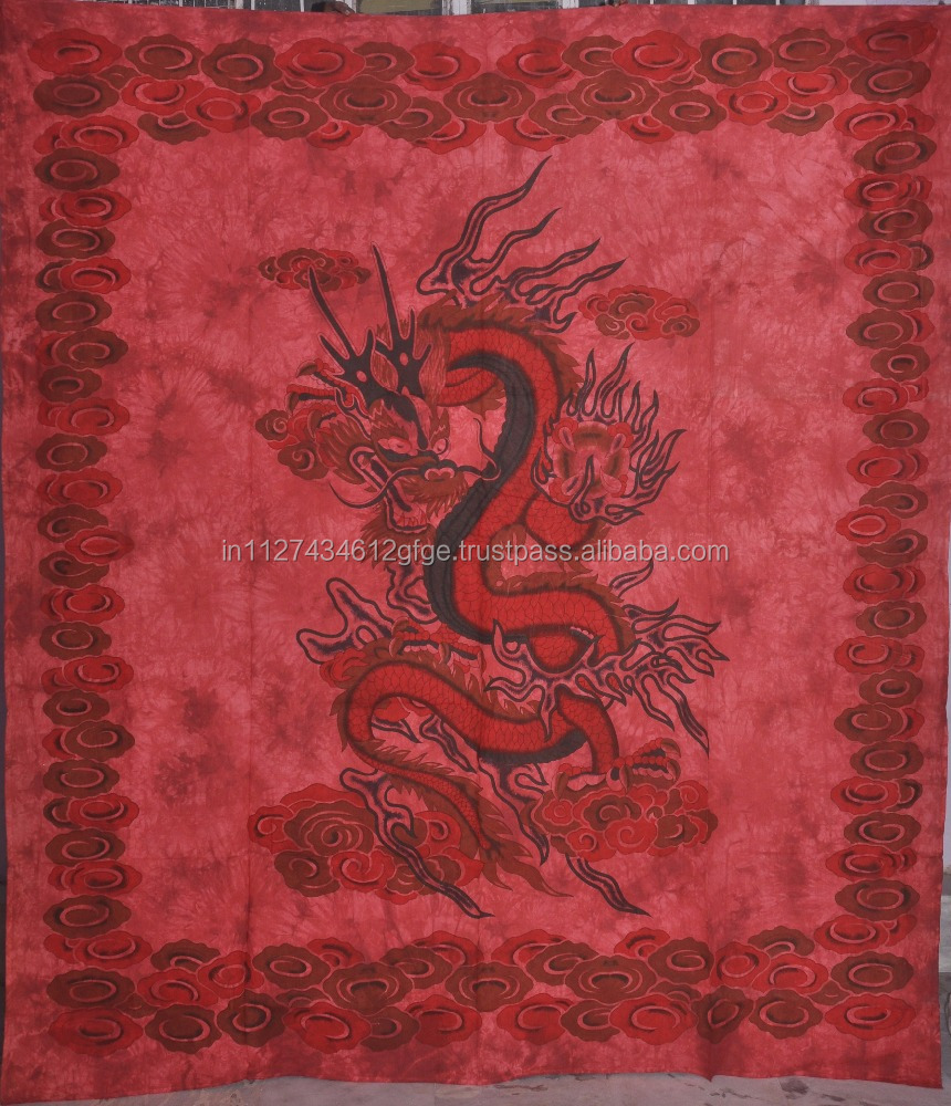 Design Red Dragon Pure Cotton Wall Hanging Tapestry