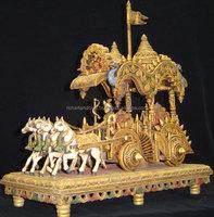 Indian Handmade Wooden Four Horse Arjun Rath Krishan Sarthi Mahabharat Kurukshetra Hindhu Vedic wood Carving Handicraft