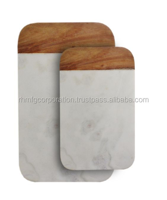 Marble / mango wood chopping board set of 2