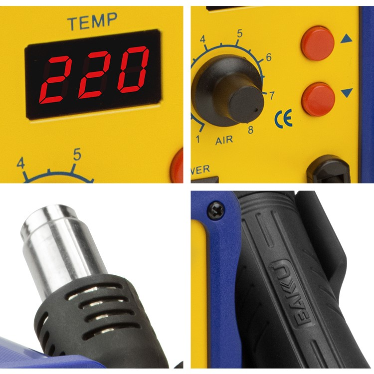 BAKU BK-858L High-quality 110V/220V LED plastic Digital SMD welding hot air heat gun for repair cellphone
