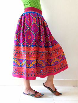9064b12ce7 Wholesale embroidered Skirt with Mirror work-rabari skirt-Indian Hand  embroidered Skirt - belly