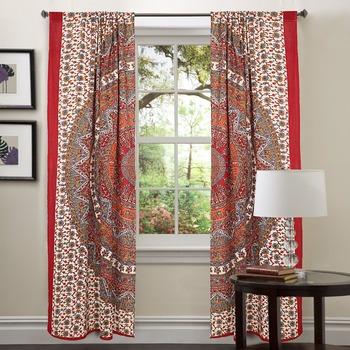 Red Mandala Tapestry Drapes Indian Curtains Window Treatment Bohemian Set Living