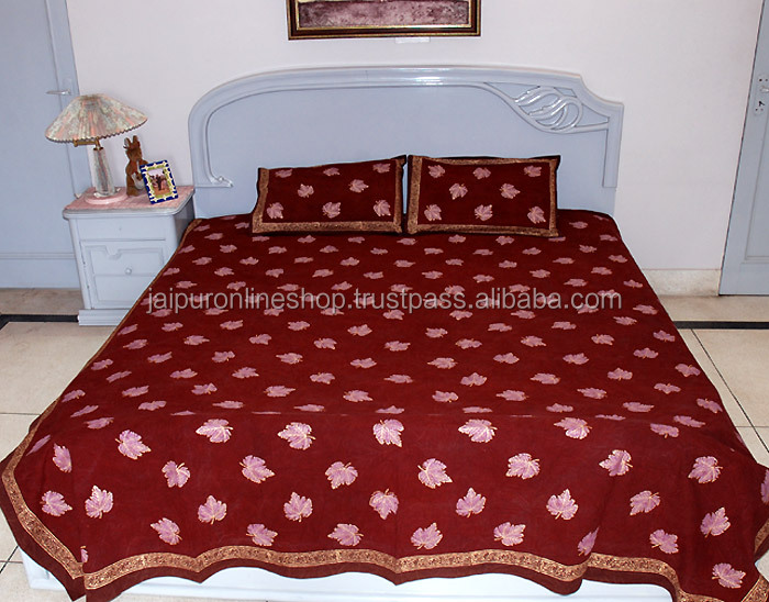 Jaipur Sanganeri Gold Print Design Pure Cotton Double Bedsheet