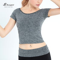 S-SHAPER Custom Gym Yoga Shirt Women Short Sleeve T-Shirt Wholesale Yoga Wear