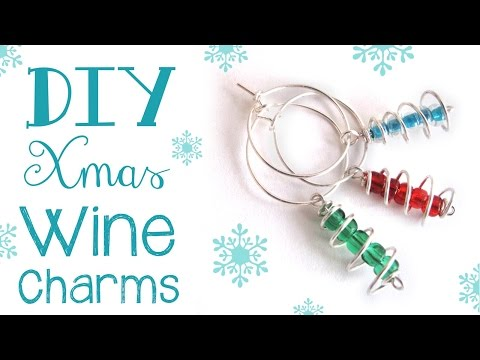 DIY Wine Charms or Earrings - Cute Christmas Tree Wine Charms