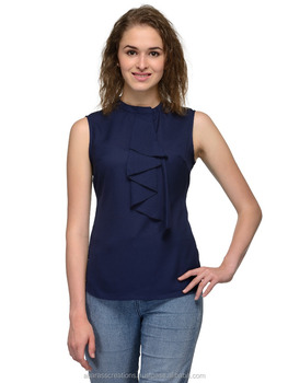 4034245025d459 Ladies Sleeveless Top Polyester Blouse Blue Color For Women Girls T-Shirts