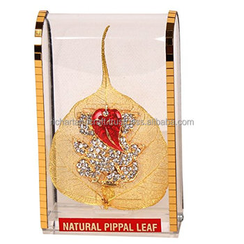 On Gold Plated Peepal Pipal Leaf For Car Dashboard Indian Wedding