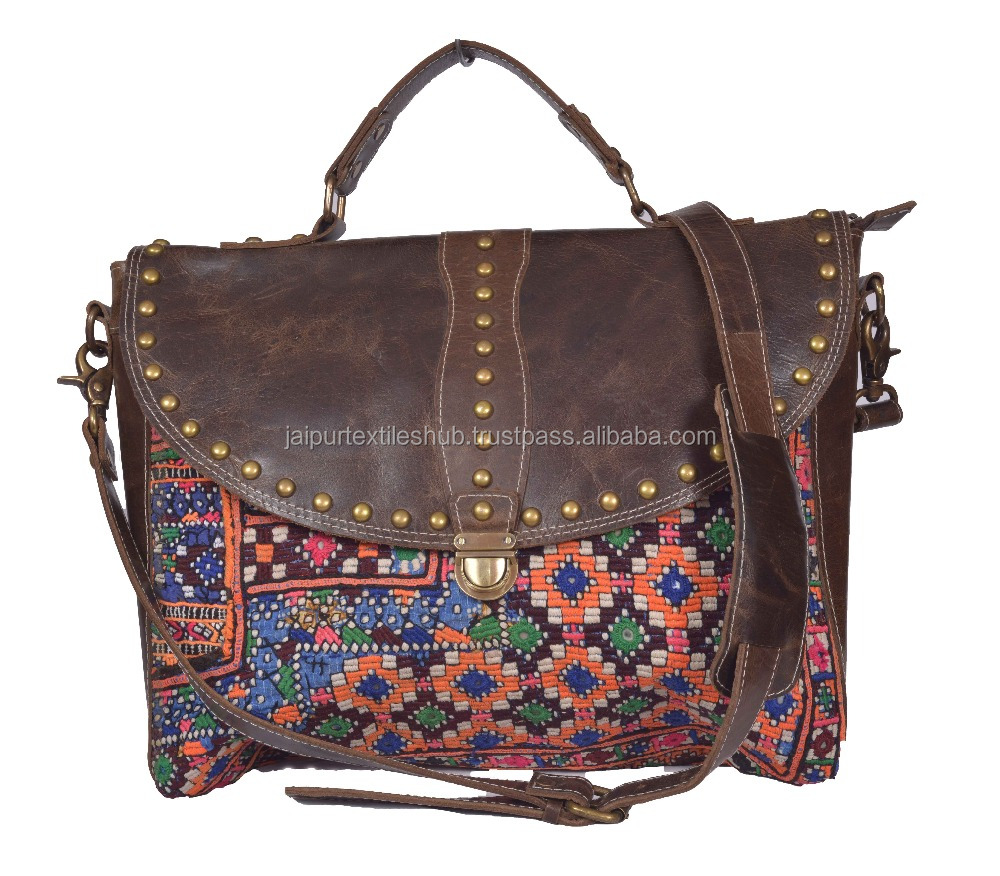 BEAUTIFUL LEATHER EMBROIDERY BANJARA RARE SIDE TRAVEL OFFICE BAG