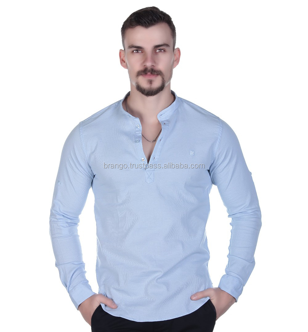 Mens Mandarin Collar Casual Shirt From Turkey Buy Mandarin Collar