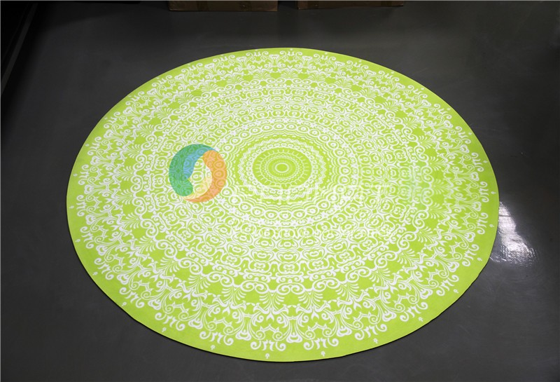 Custom Rubber Round Yoga Mat with Digital Printed with Suede Fabric