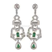 Emeralds And Single Cut Diamonds Studded Victorian Earring In Mixed Metal 9k Gold & 925 Silver