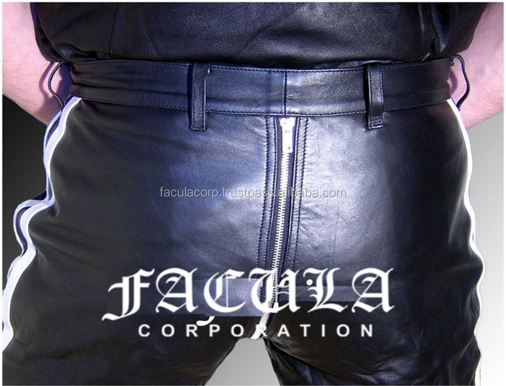 Mens Genuine Leather Pants Black Gay Pants NEW LEATHER LINING Polyester FC-8917