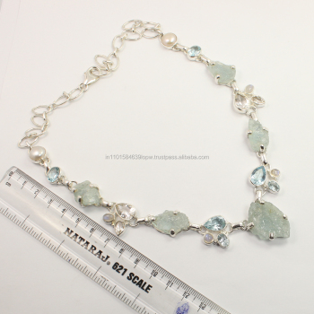 Awesome Necklace 925 Sterling Silver Natural AQUAMARINE, BLUE TOPAZ, CRYSTAL QUARTZ, RAINBOW MOONSTONE & PEARL Gemstones