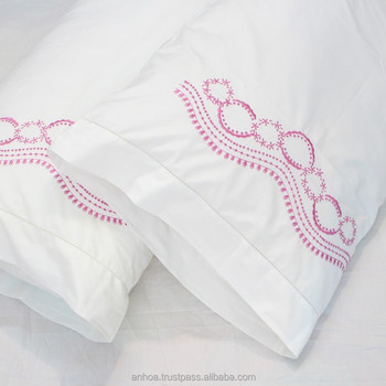 Flowers Embroidered Cotton Hemstitched Pillowcases Buy Satin