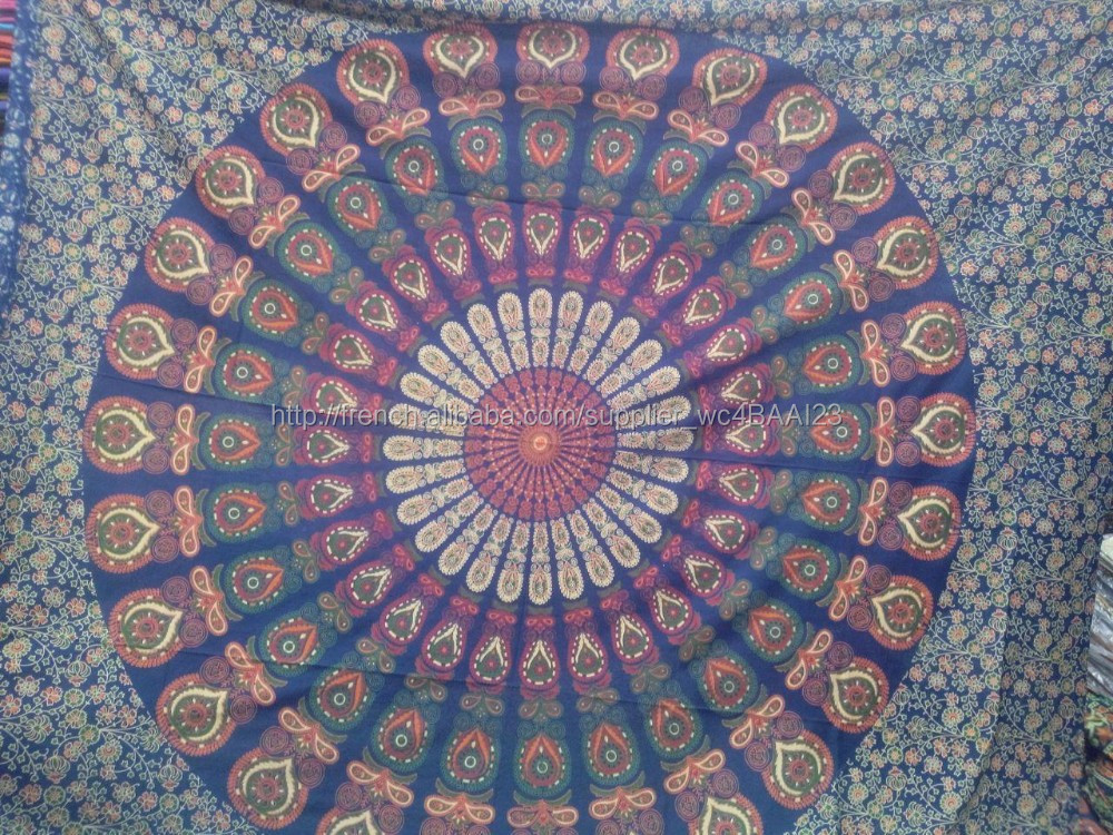 Derni res peacock mandala tapisserie floral indienne for Decoration murale indienne
