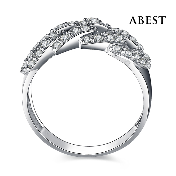 Latest Design Fashion Wax Micro Setting Ring Wholesale Sterling 925 Silver Cubic Zirconia 18K Gold Plated Jewelry