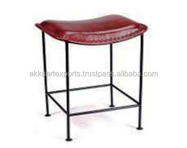 JODHPUR MADE INDUSTRIAL METAL BASE LEATHER STOOL , LEATHER INDUSTRIAL COUNTER STOOL