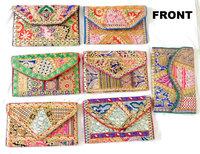Indian handmade patchwork Clutch purse - Wedding Clutch Purse - Indian handmade Golden embroidery patchwork Purse Clutches Bag