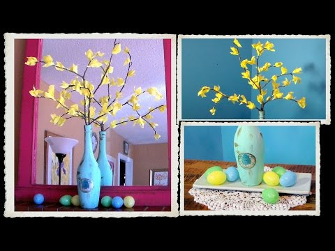DIY forsythia Centerpiece // SPRING or EASTER Decoration