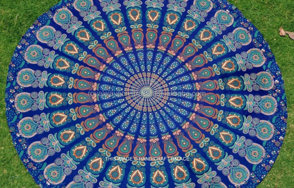 tapisserie indienne mandala ronde plage jeter boho gypsy. Black Bedroom Furniture Sets. Home Design Ideas
