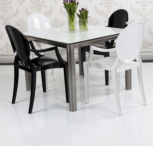 Classic white 6 seater dining table solid surface top for Fancy glass dining table