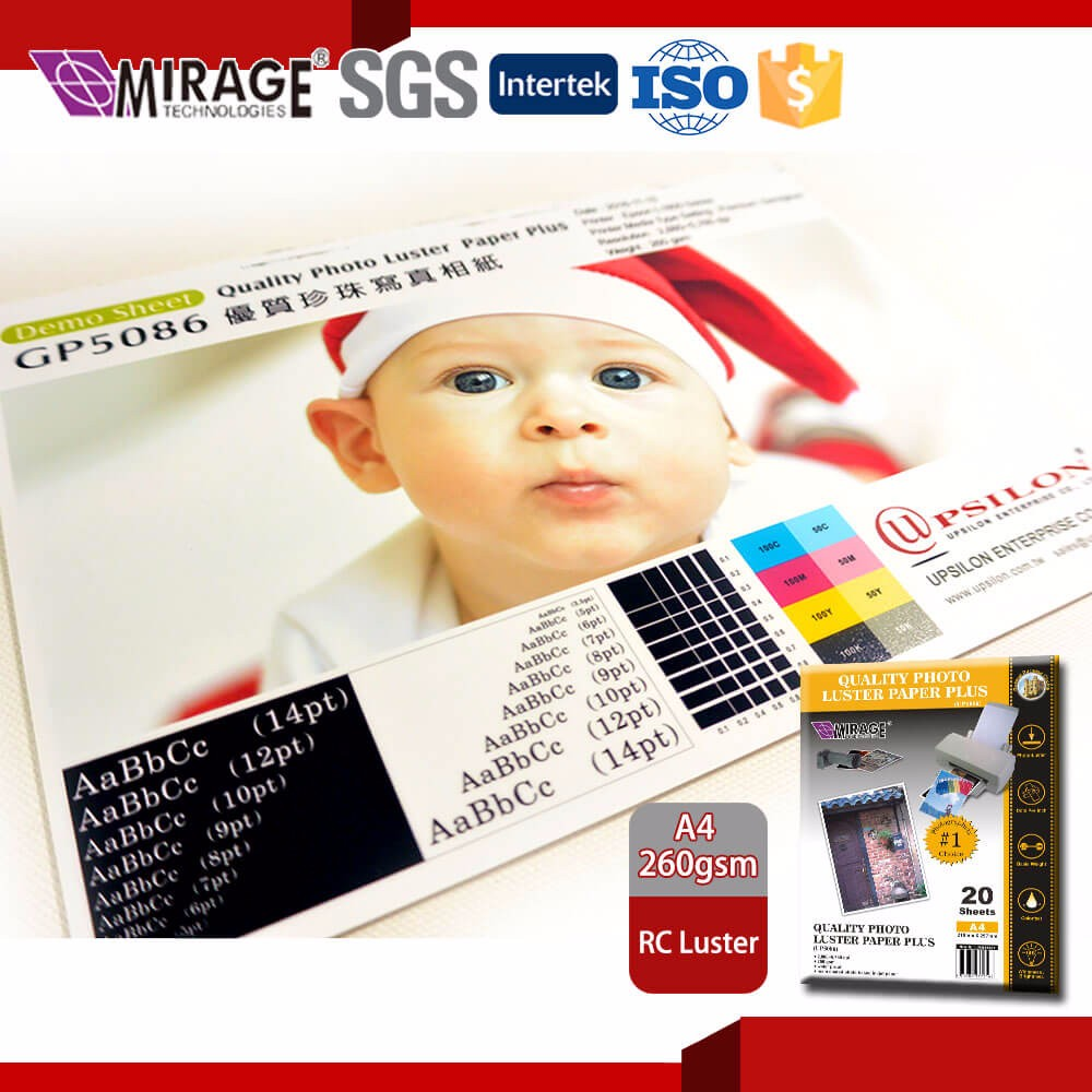Premium Quality Inkjet Resin Coated Paper Photo Luster