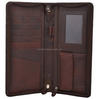 Top Quality Brown vintage leather travel ticket and passport wallet/Best selling travel wallet for unisex