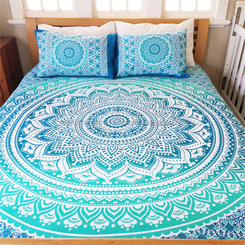 Indian Duvet Cover Blue Ombre Mandala Hippie Bohemian New Quilt Blanket Cover