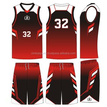 30c4e535305 Red And Black Color Basketball Uniform Adult Basketball Uniform ...