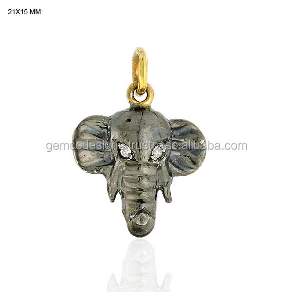 Gold 18kt Silver 925 Designer Single Cut Round Diamond Elephant Charms Wholesale Jewelry