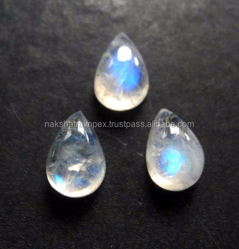 aaa quality natural rainbow moonstone pear cabochon loose gem stone