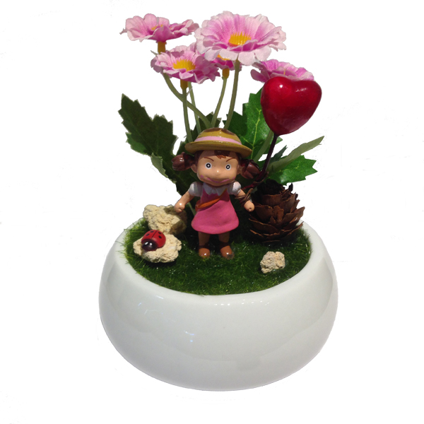 Home Decorative in White Ceramic Pot with cute figurine