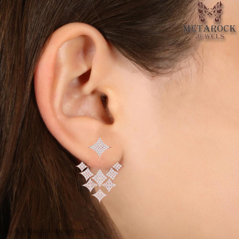 Rhombus Design Pave Diamond Ear Cuff 14k Rose Gold New