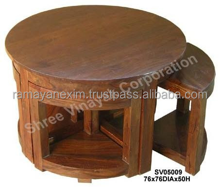 Wooden Coffee Table With 4 Nested Stools Shesham Wood Product On Alibaba