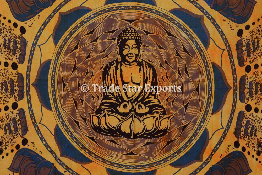 Buddha Tapestry Wall Hangings indian cotton twin buddha meditation lotus wall art bohemian