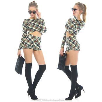 16110e9f8c5 2 Pieces Set Sexy Women long Crop Top Plaid A short Elegant Rompers  Playsuits Jumpsuits Tartan