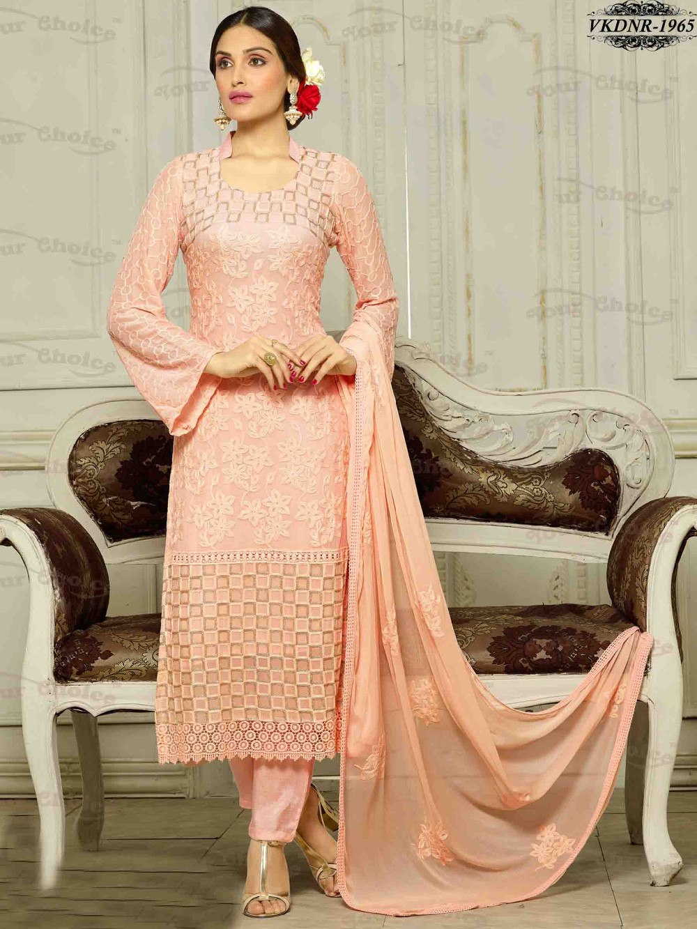 Cheap Price Pure Chiffon Karachi Work Dress Materials