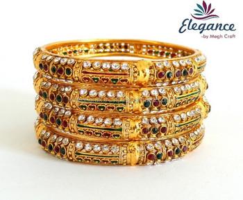 Wholesale Indian Artificial Gold Bangles-indian Kundan Ethnic Bangles  Bracelet -wholesale Lot Indian Bangles - Buy Wholesale Indian Gold Bracelet