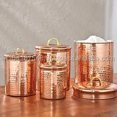 Charming Kitche Canisters, Rose Gold Color Copper Canisters, Elegant Copper Canisters,  Copper Jars,