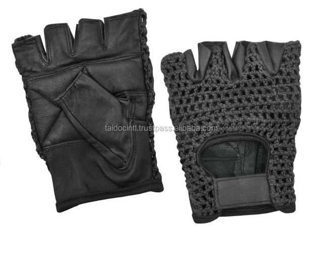Half Finger Weight lifting Gloves Padded Leather Crochet Back Cycling Glove
