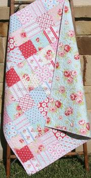 Beautiful Design Baby Quilt Patchwork Pink Blue Red Y Blanket Handmade
