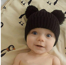 Dual Ball Knitted Baby Caps Boys Girls Toddler Crochet Beanie Hairball Ear Baby Hat Cute Children Caps