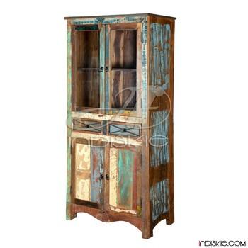 Rustic Reclaimed Armoire Wood Glass Door Book Case Cabinet Wardrobe  Furniture