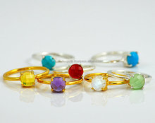 Custom round stone prong set tiny gold small silver Birthstone stack able ring Gemstone
