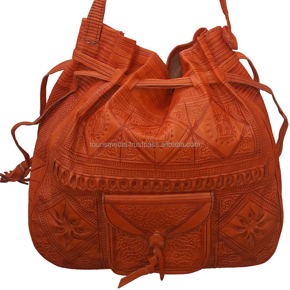 d031e1d1e167 Moroccan handmade leather small shoulder bag messenger cross body bag  wholesaler 25orange