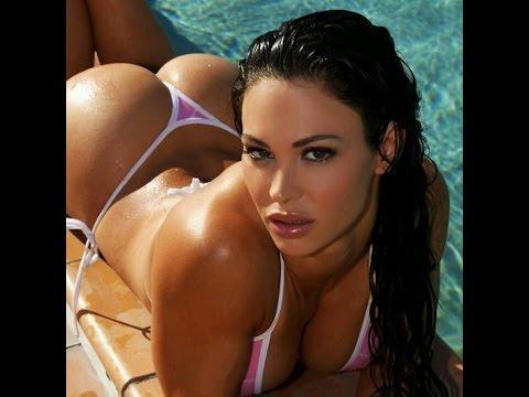 Oiled bikini models