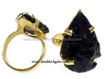 Black Obsidian Agate Arrowhead Finger Rings :Wholesale Gemstone Arrowheads Finger Rings