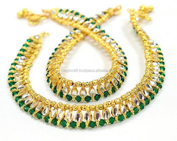 b6e1966a277 Bollywood Style fancy Anklet- Indian Gold Plated Traditional Kundan Anklet  - Payal-Designer Gold