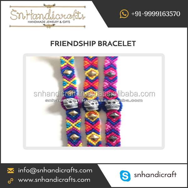 Skull Design Woven Friendship Bracelets Available at Affordable Rate