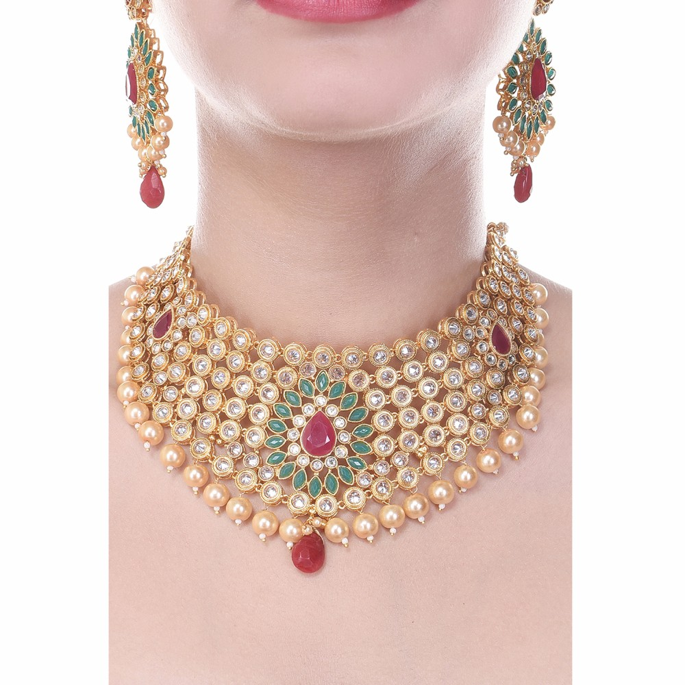 Royal Choker South Indian Style One Gram Gold Plated